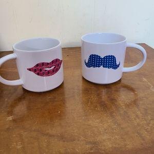 His & Hers Coffee Mug Lips Mustache